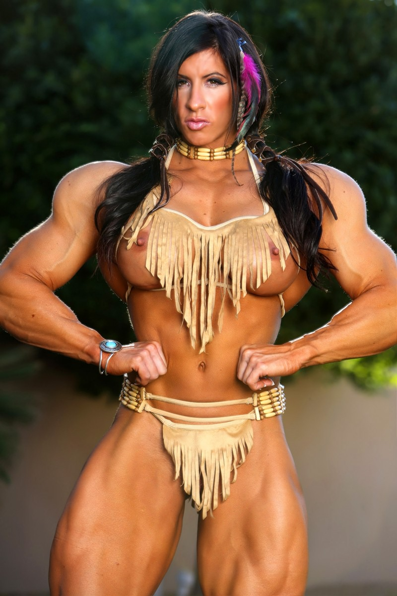 Contest topless bodybuilding female